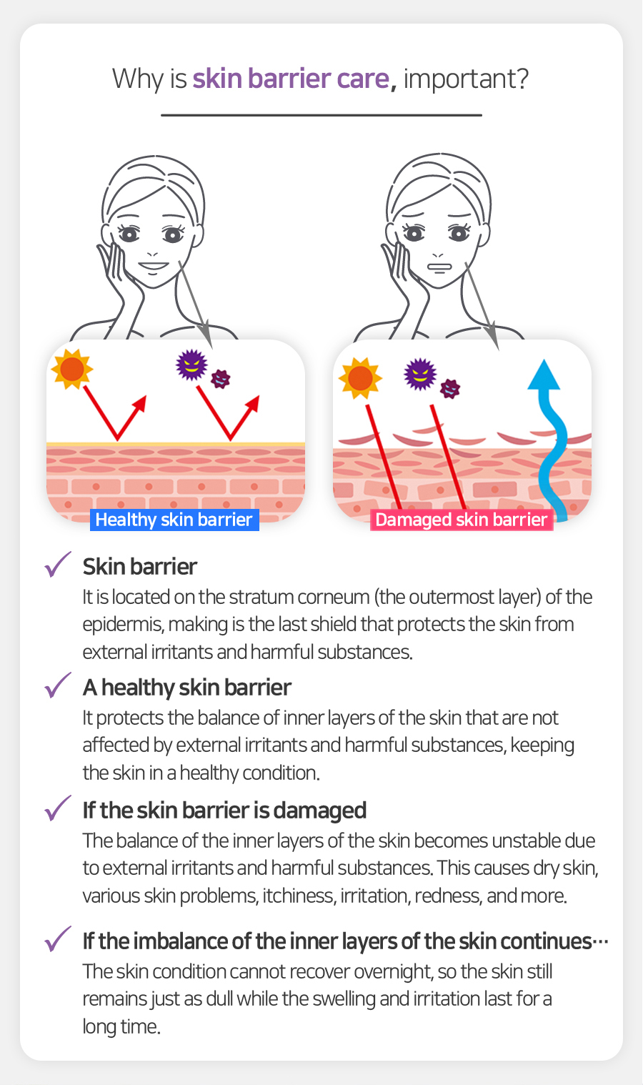 Why is skin barrier care important? :: Skin barrier : It is located on the stratum corneum (the outermost layer) of the epidermis, making is the last shield that protects the skin from external irritants and harmful substances. // If the skin barrier is damaged : The balance of the inner layers of the skin becomes unstable due to external irritants and harmful substances. This causes dry skin, various skin problems, itchiness, irritation, redness, and more. // If the imbalance of the inner layers of the skin continues… : The skin condition cannot recover overnight, so the skin still remains just as dull while the swelling and irritation last for a long time.